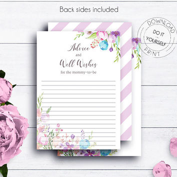 Floral Baby Shower Advice Cards, Boho Baby Shower, Watercolour DIY Baby Shower, Summer Baby Party, Advice For Parents, Advice Card, Newborn