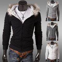 Slim Fit Men Fashion Zip Up Fleece Hoodie with Fur