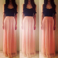 Strapless Sheath Pleated Maxi Dress
