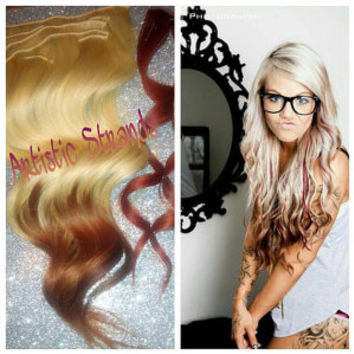 "Full Set of Extensions / Platinum to Penny Copper / Reverse Ombre Hair - Copper Tips / 18-20"" / Ready to Send"