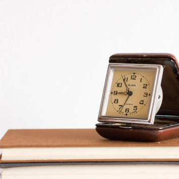 Vintage Travel Clock, Brown Leather Case Alarm Clock, Slava Soviet Clock, Desk Office, Time ohtteam