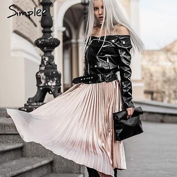 Simplee Autumn satin black long skirt summer Casual smooth women skirt 2016 winter high waist skirt Elastic pink pleated skirt