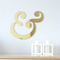 Gold acrylic mirror ampersand sign, wedding engagement decoration