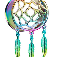 Rainbow Dreamcatcher Feather Dangle Ear Gauge Plug