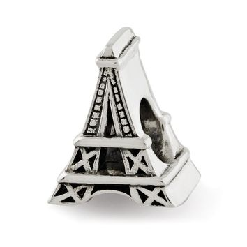 Eiffel Tower Charm in Antiqued Sterling Silver for 3mm Bead Bracelets