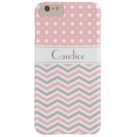 Modern pink, grey, white chevron & polka dot barely there iPhone 6 plus case