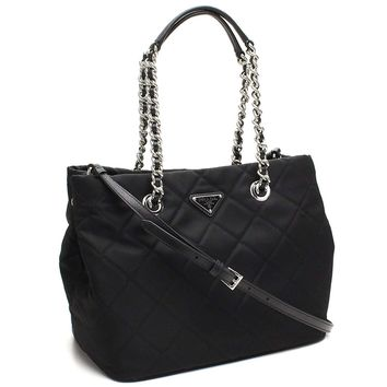Prada Midnight Black Quilted Tessuto Chain Designer Shoulder Tote Bag for Women 1BG740