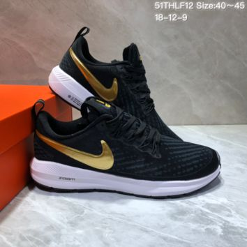 HCXX N693 Nike Air Zoom Pegasus 22 Flyknit XXII Breathable Sports Running Shoes Black Gold