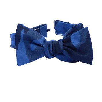 Blue Camouflage Print Bow Tie