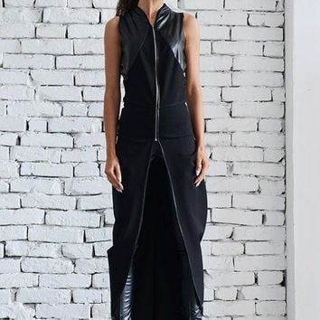 SALE Black Asymmetric Vest/Chain Leather Top/Oversize Black Tunic Top/Sleeveless Leather Jacket/Extravagant Casual Top/Long Sleeveless Coat
