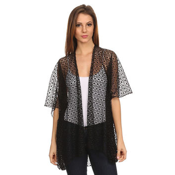 Womens Lace Open Front Short Sleeve Poncho