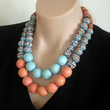 SALE - BELOW COST Ashira African Krobo Powder Glass Bicone King Trade Beads, Old Vulcanite Colorful Blue Tangerine Wood - Statement Necklace