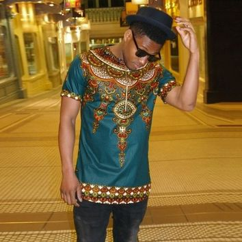 African Tribal T Shirt Men Dashiki Print Succinct Hiphop Style Top Africaine European Folk Style Printing T-shirt Tee Shirt Men