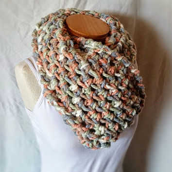 Fall chunky cowl Bulky  wool blend scarf Long  loop shoulderette wrap Crochet neck warmer Green blue orange white
