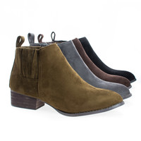 Gogo1 Sully's Chelsea Ankle Boots Bootie w Elastic & Pull Tab on Stack Heel
