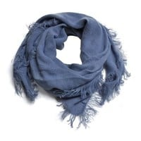 Scarf, Jean Blue Cashmere Feel Korean Style Square Large Kerchief, 43