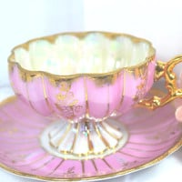 Vintage Pink and Gold Footed Tea Cup and Saucer Japan Lusterware