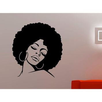 African American Woman/ Afro & Hooped Earrings Wall Decal