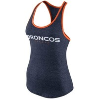 Women's Nike Navy Blue Denver Broncos Core Fan Marled Tank Top