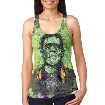 Halloween Frankenstein Raver Horror Movie Juniors Burnout Racerback Tank Top