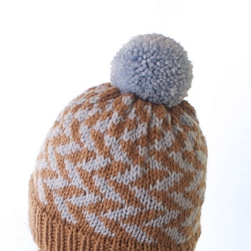 Pom Pom Knit Hat - Herringbone - Ice Blue & Beige