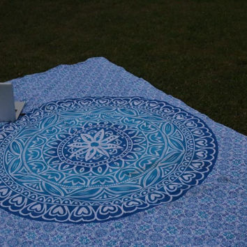 BLUE HEART DESIGN MANDALA BEDSPREAD TWIN WALL HANGING BEACH THROW!!