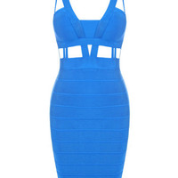 Sexy Cut Blue Color Bodycon Clubbing Bandage Dress