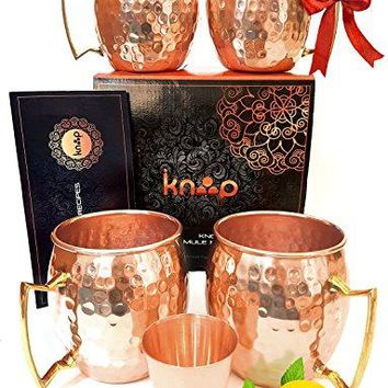 Premium Moscow Mule Mugs Set of 4 Handcrafted Hammered Copper Construction for Timeless Elegant Gift ndash 16oz Unlined Copper Cups +FREE Recipe Book and Cocktail Party Guide by Knooop