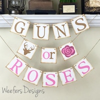 Gender Reveal banner, Guns or Roses Banner, Rustic Baby Shower Decor, Baby Shower Decorations, Rustic Brown and Glitter Pink