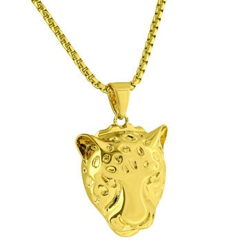 "Cheetah Panther Face Pendant 18k Gold Finish 24"" Box Chain 1.4"" Mini Charm Mens"