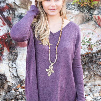 Adventure Awaits Piko Sweater, Dusty Purple