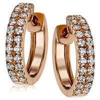 Simon G. Rose Gold Classic Mini-Hoop Diamond Huggie Earrings