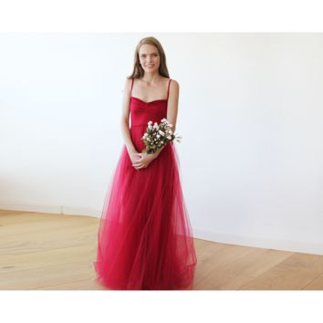 Burgundy maxi ballerina tulle dress 1061