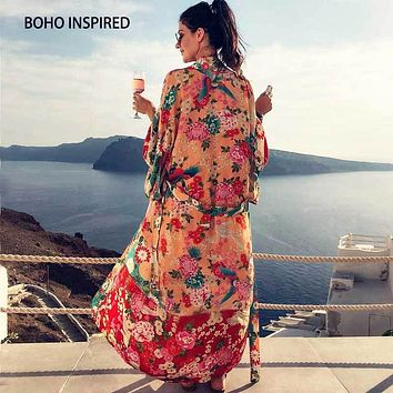 Boho INSPIRED Vintage Kimono Cardigan Ladies 2018 Summer Long Kimono Loose floral printed tops rayon sashes wrap Blouses shirts