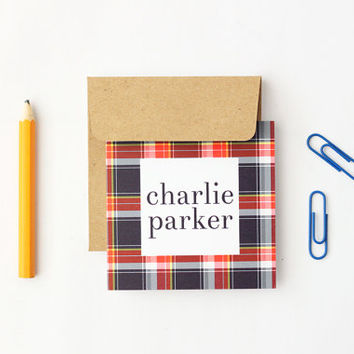 Personalized Gift Enclosure Cards Custom Boys Gift Tags Plaid Birthday Card Red Navy Tartan Birthday Enclosure Small Cards Tags / Set of 25