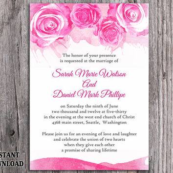 DIY Watercolor Wedding Invitation Template Editable Word File Instant Download Printable Pink Invitation Peonies Invitation Rose Invitation