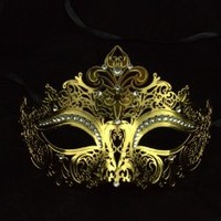 Classic Venetian Metal Laser Cut Masquerade Mask with Rhinestones K2001GD by Kayso International