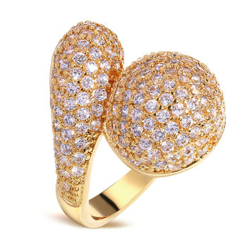 Engagement Rings Gold plated with Cubic zircon Pretty women Ring wedding accessories new style fashion jewelry Free shipping