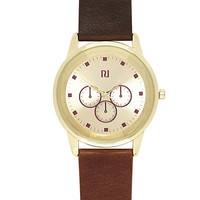 River Island MensBrown classic gold tone watch