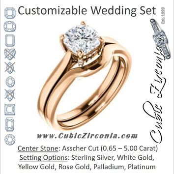 CZ Wedding Set, featuring The Aimy Jo engagement ring (Customizable Cathedral-Raised Cushion Cut with Prong Accents)