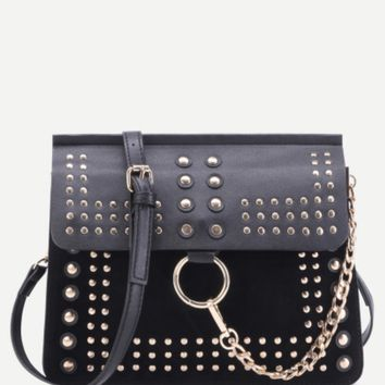 Black Crossbody Flap Bag with Gold Studs