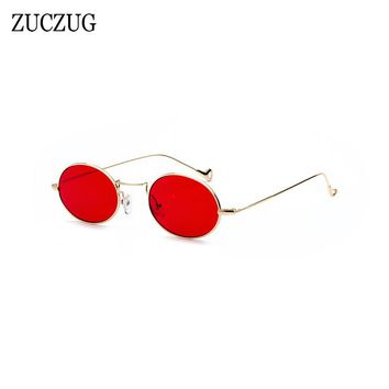 ZUCZUG Retro Oval Sunglasses Women Brand Design Round Small Size Sun Glasses Ladies Gold Frame Red Pink Blue Lens Glasses UV400