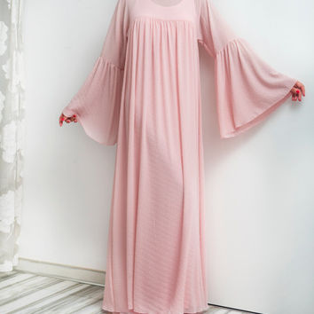 NEW SS16 Pink Maxi Dress, Chiffon dress, Abaya, Caftan, Plus size dress, Plus size clothing, Spring Summer dress, Long dress