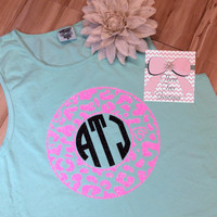 Comfort Colors Monogram Tank Top Glitter Monogram Comfort Colors Tank Top Animal Print Monogrammed Tank Top Monogrammed Gifts or Bridesmaid