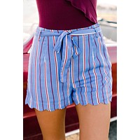 Urban Allure Striped Shorts (Light Blue)