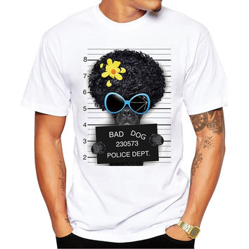 Black French Bulldog With An Afro Bad Dog Police Dept Mugshot Men's Short Sleeve Casual White T-Shirt