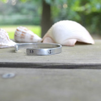 Personalized Anchor Cuff Bracelet - Monogram - Initial - Initials - Anchor - Nautical - Looks Like Silver - Metal Stamping - Aluminum