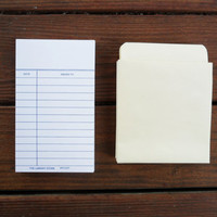 blank library cards and pockets - set of 50