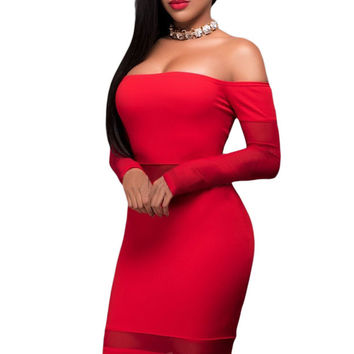 Off Shoulder Mesh Insert Long Sleeves Dress