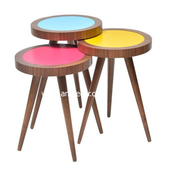 TV Tray Table Round Walnut Colorful Wood 3 pcs.